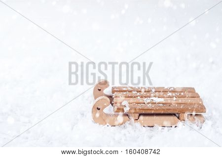 Top View Of Wooden Sled In The Snow