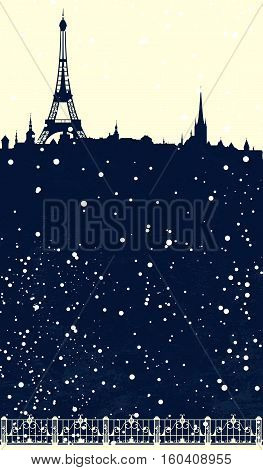 winter season Paris scene - christmas card with eiffel tower and falling snow vector design