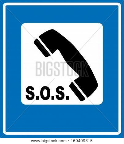 Emergency phone call receiver sign isolated on blue traffic sign, vector illustration for public places and traffic