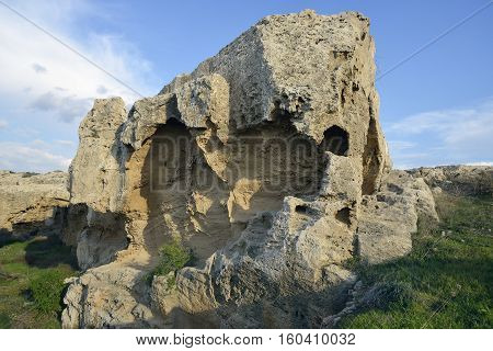 Eroded Rocks at Kato Paphos Archaeological Park Cyprus