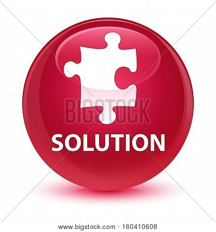 Solution (puzzle Icon) Glassy Pink Round Button