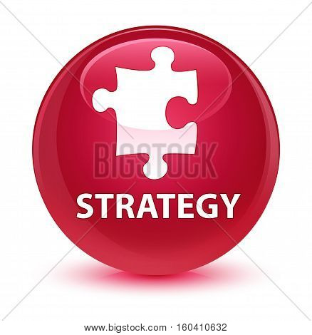 Strategy (puzzle Icon) Glassy Pink Round Button