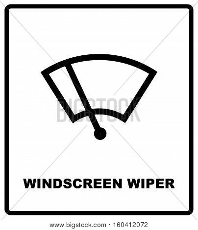 Windscreen wiper sign. Car icon wiper. Vector illustration isolated on white, for road and public places