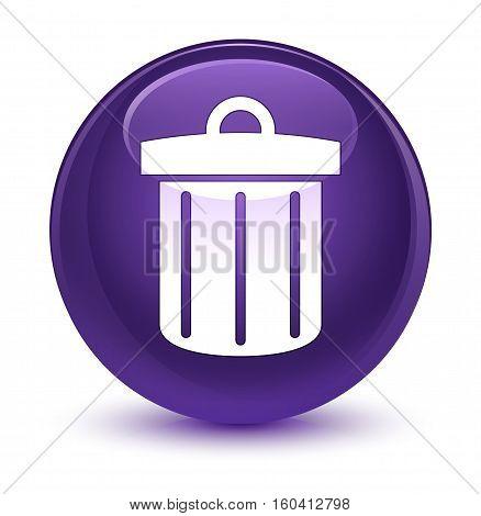 Recycle Bin Icon Glassy Purple Round Button