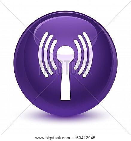 Wlan Network Icon Glassy Purple Round Button