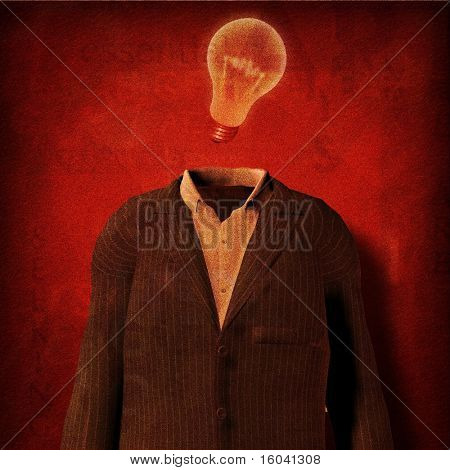 Suit and light bulb part of text grunge painting