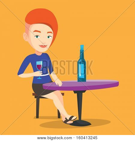 Young woman sitting at the table with glass and bottle of wine. Caucasian woman drinking wine at restaurant. Cheerful woman enjoying a drink at wine bar. Vector flat design illustration. Square layout