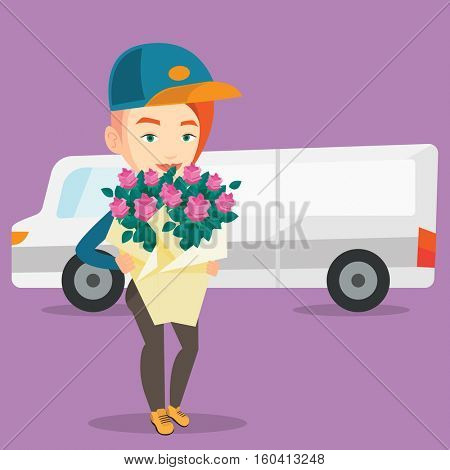 Caucasian courier with flowers on background of delivery truck. Delivery courier holding bouquet of flowers. Young delivery courier delivering flowers. Vector flat design illustration. Square layout
