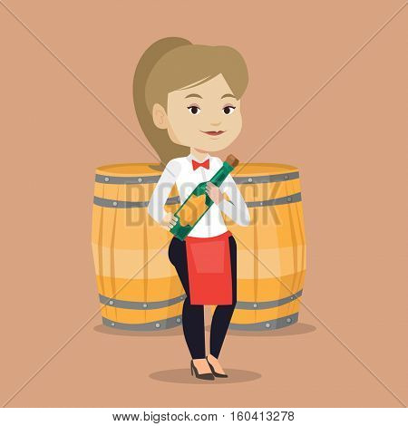Caucasian waitress holding a bottle of wine. Waitress with bottle in hands standing on the background of wine barrels. Waitress presenting a wine bottle. Vector flat design illustration. Square layout