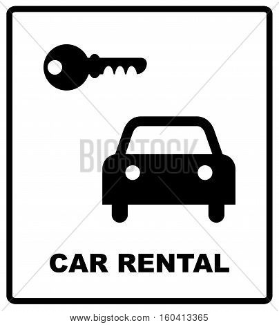 Rent a car sign isolated on white background, Vector illustration for road and public places. Car rental text