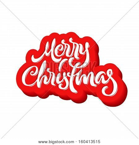 Merry Christmas calligraphic handdrawn lettering with inflated jam style
