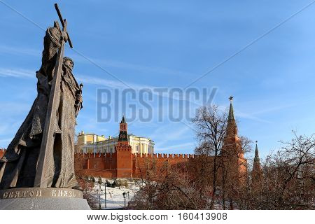 Moscow, Russia - November 21, 2016: Monument To Holy Prince Vladimir The Great On Borovitskaya Squar