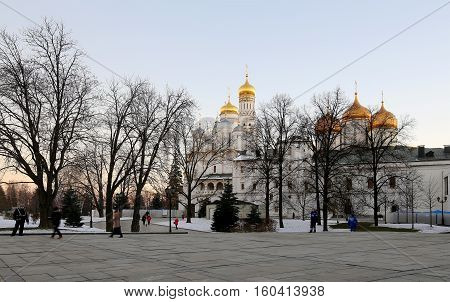 Moscow, Russia - November 22, 2016: Inside Of Moscow Kremlin At Night, Russia. Unesco World Heritage
