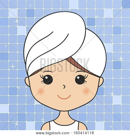 Beautiful woman in bathroom with head towel making cosmetic procedures. Facial mask, face wash. Young girl portrait. Cartoon character fixing skin problems. Vector illustration. Spa beauty theme.