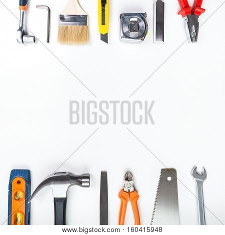 Various tools on a white background