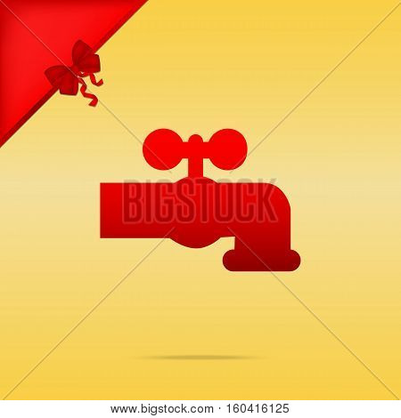 Water Faucet Sign Illustration. Cristmas Design Red Icon On Gold