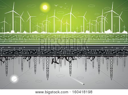 Vector energy panorama, green energy and polluting energy, windmills and ecology against oil rigs and petroleum