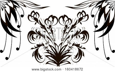 Seamless pattern with black flower pattern on white in the background of an elongated type ornament