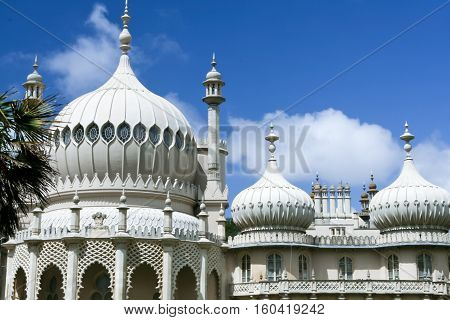 roof of the mogul inspired royal pavilion regency palace in brighton england