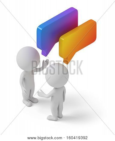 Isometric people with chat bubbles. 3d image. White background.