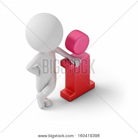 Isometric person standing near to an information icon. 3d image. White background.
