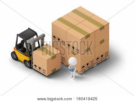 3d isometric people - warehousing. Forklift and storage boxes. 3d image. White background.