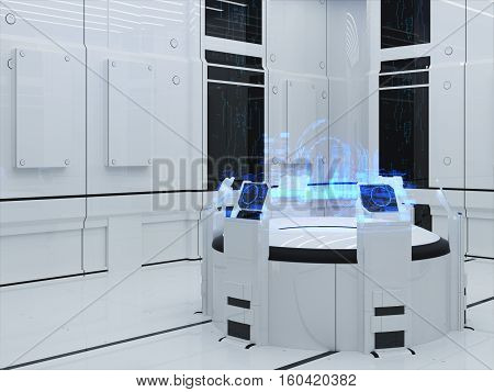 Futuristic Interior. Projection hologram Sector City. Interface Display