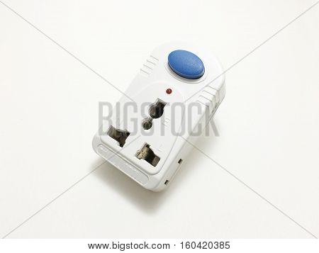 Jacks, plugs, switches on a white background.