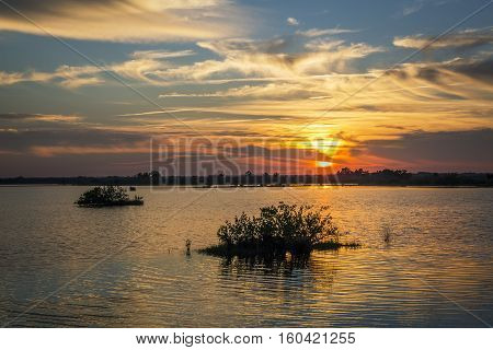 Sunset Over Water - Merritt Island Wildlife Refuge, Florida