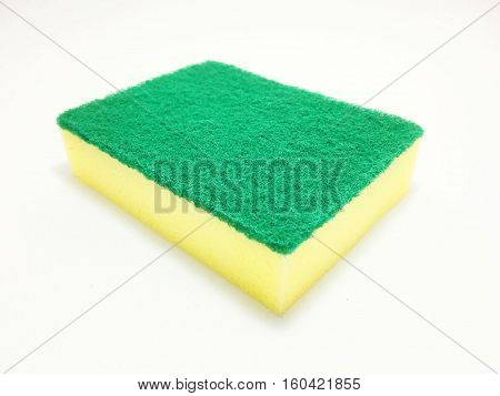 Sponges for scrubbing pots on a white background.