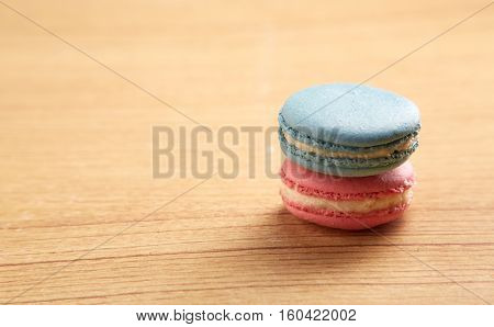 Pink And Blue Traditional French Macaron nack, assortment, background,