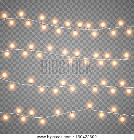 Christmas garlands isolation on transparent background. Xmas realistic overlay lights card. Holidays decorations bright lamps. Vector gloving garland illustration