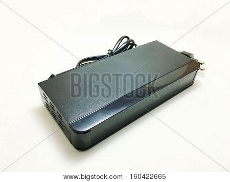 black plastic Satellite box on a white background.