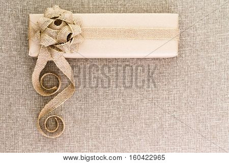 Creative Artistic Rustic Christmas Gift On Burlap