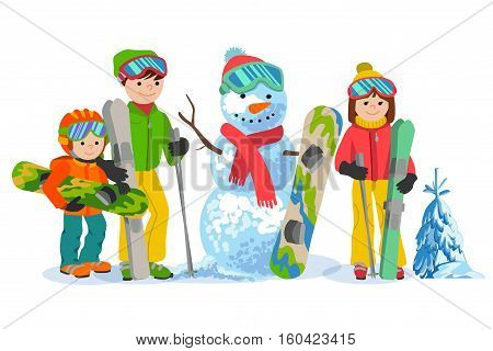 Family portrait of father, mother and daughter skiers snowboarders and snowman cartoon vector illustration on white background. Happy skiers winter sport concept. People with ski equipment in winter clothes.