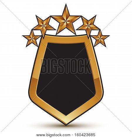 Geometric Vector Glamorous Golden Element Isolated On White Backdrop, 3D Polished Shield Shaped Blaz