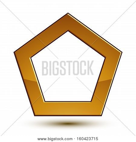 Royal Golden Geometric Symbol With White Copy Space, Stylized Golden Emblem, Best For Use In Web And