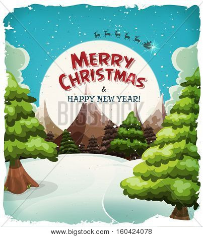 Illustration of a cartoon winter landscape with snow mountains pine trees and merry christmas wishes on moonlight background