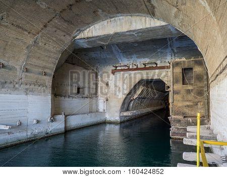 Balaklava, Crimea - September 2016: Input in the Naval museum submarine complex. Russia.