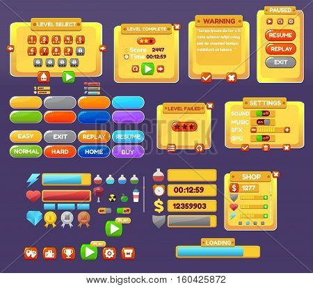 The elements of the game interface. game menu, level interface , panels , ui , buttons