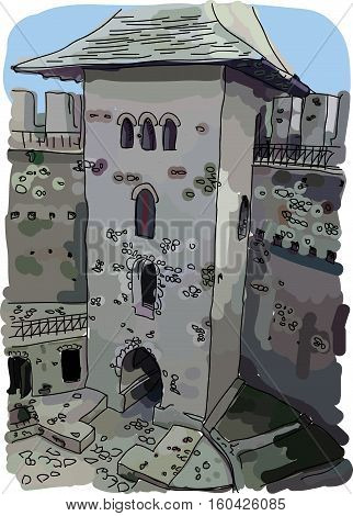 Digital vector painted Soroca Castle in Moldova with blue sky, flat style