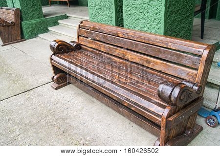 Old wooden bench. Memorial History Museum in Sochi Stalin's Dacha.