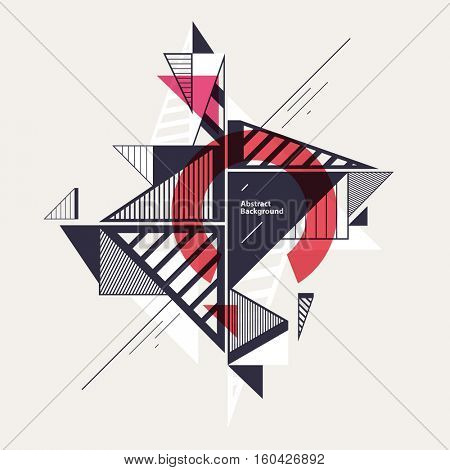 Abstract geometric composition with decorative triangles