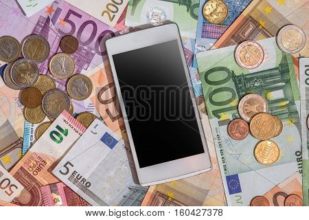 different euro money and phone for background