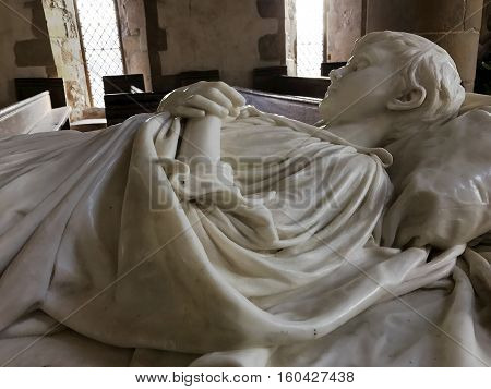 BAKEWELL ENGLAND - DECEMBER 4: Interior of chapel at Haddon Hall. Tomb of young Lord Haddon in marble. In Bakewell Derbyshire England. On 4th December 2016.