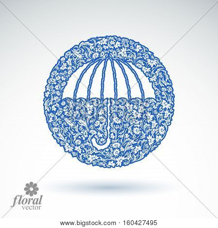 Beautiful flower-patterned umbrella. Stylized accessory vector creative parasol graphic brolly illustration best for use in advertising and web design.