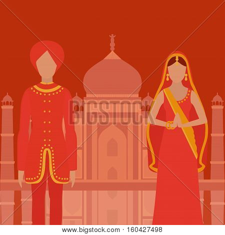 Taj Mahal Temple Landmark in Agra India. Indian white marble mausoleum indian architecture South Asia beautiful woman and man wearing indian traditional cloth