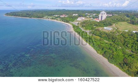 Labuan,Malaysia-Dec 5,2016:Aerial view of the Labuan island with beautiful landscaped & long sandy beach.Labuan have many small islands offshore,spectacular coral reefs & thousands of types of fish.