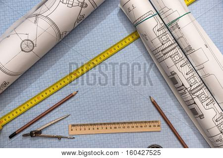 Engineering drawing on paper mm with tools