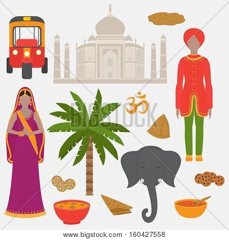 India symbols set. Hinduism design elements. South Asia beautiful woman and man wearing indian traditional cloth. Vedic cuisine set of vegetarian healthy food